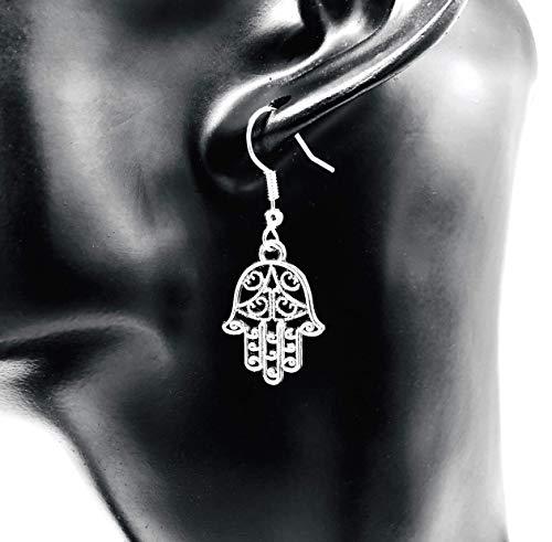 Ohrringe - LITTLE HAMSA - Hand der Fatima antik Khamsa versilbert hängend handmade einzigartig...
