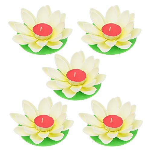OSALADI 5 Piezas Vela de Loto Velas de Feliz Cumpleaños Luz de Loto Flotante Linterna de Flores Lámpara de Flor de Lirio para Festival Piscina Jardín Decoración del Hogar (Blanco con Vela)