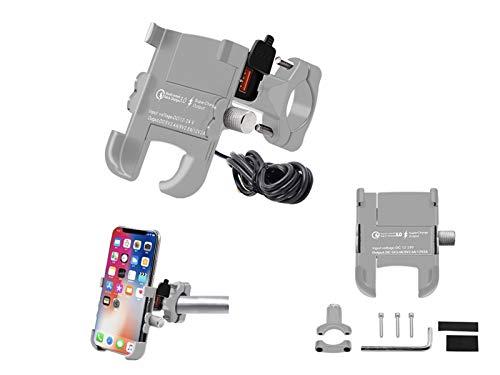 ( 2 en 1 ) cargador de teléfono de motocicleta USB 5V3.4A cargador de soporte de teléfono móvil compatible con teléfonos inteligentes de 4.0-6.5 pulgadas
