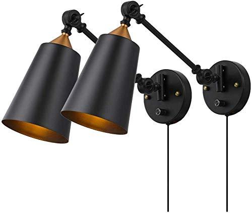 Apliques de pared industriales enchufables Juego de 2 con interruptor de encendido y apagado Lámpara de pared con brazo oscilante Vintage Edison Lámparas de pared con pantalla de negro