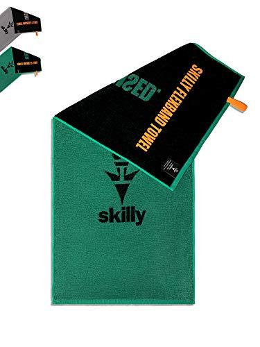 skilly FBT120 Fitnesshandtuch I Fitness Handtuch 120x50cm I Sporthandtuch mit Antirutschfunktion I Handtuch aus 100% Baumwolle I grün schwarz XL (Green | Black, 120x50cm)
