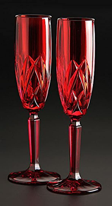 初心者ケージ哀Marquis by Waterford Brookside Champagne Flute, Red, Set of 4 by Marquis By Waterford