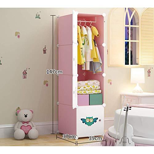 JHDDP3 Kleiderschrank Kinder Garderobe Cartoon Baby Baby Kind Einfache Tuch Kleiderschrank Kunststoff Montage Lagerung Lagerschrank, E, (Color : H)