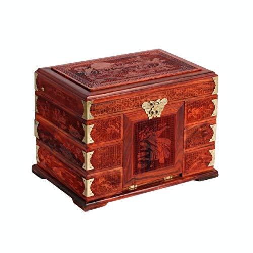 Preisvergleich Produktbild Wooden Jewelry Box NAN Rosenholz Zweige geschnitzt Sieben Fee Schmuckschatulle aus Holz Schatztruhe Neue Kosmetikspiegel,  A-30cm * 20.5cm * 23cm