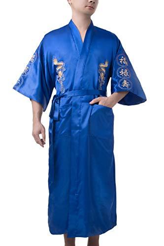 Bon amixyl - Albornoz para hombre, seda satinada, kimono, bordado de dragón, Yukata Hakma, vintage