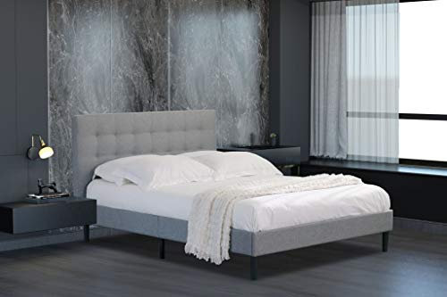 Home Treats Melia Grey Double Bed Frame with Deluxe Sprung Mattress Bed Set Bedroom Furniture (No Mattress)