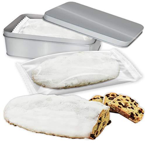 Edel-Marzipanstollen 1000g in Geschenkdose - Premium Qualität - Frisch & Saftig! - Saftiger Christstollen mit Edel Marzipan-Füllung LEBKUCHEN WELT