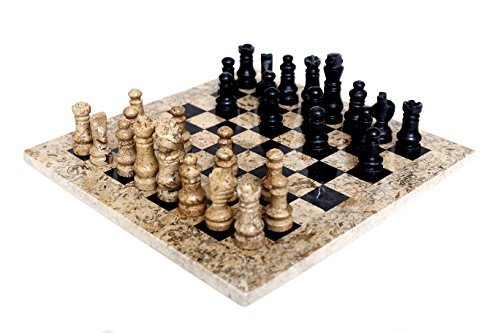 RADICALn 12 Inches Handmade Fossil Coral and Black Weighted Marble Adults Classic Staunton Tournament Chess Play Board Game Set - Best Home Décor Gift Style Chess Sets -Non Go Non Othello Non Magnetic
