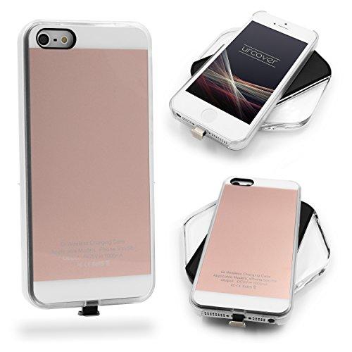Urcover Custodia Protettiva Wireless Qi Apple iPhone SE / 5 / 5s Back-Case TPU Scocca Rigida Cover Morbida Carica a Induzione in Rosa Dorato | Ricevitore Qi Integrato