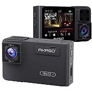AKASO Dual DashCam 1080P 60FPS FHD Autokamera mit Rückkamera, Uber Frontkamera und Heckkamera, 340° Weitwinkel, Dual Aufnahme 1080P, Infrarot-Nachtsicht, Parkmodus, G-Sensor (Trace 1)