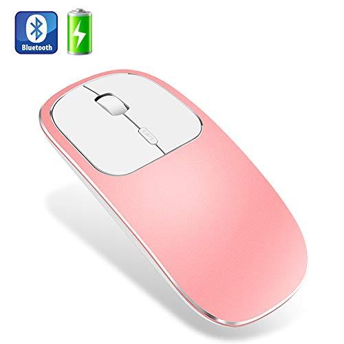 Muis, metaal geruisloos Stil Draadloos Oplaadbaar Bluetooth Draadloos Optisch, Compatibel met Notebook PC Laptop,Pink