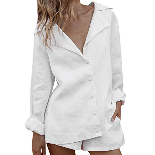 Aniywn Women's 2 Piece Outfits, Long Sleeve Button V-Neck Blouse Casual Loose Shorts Pant Sets White