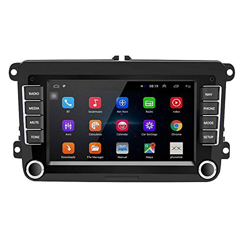 Podofo Radio 2 DIN Android para VW Passat Seat Golf Skoda TOURAN 7 Pulgadas HD Pantalla táctil Navegador GPS Unidad Principal con WiFi Mirror Link Radio FM Am Cámara de Respaldo