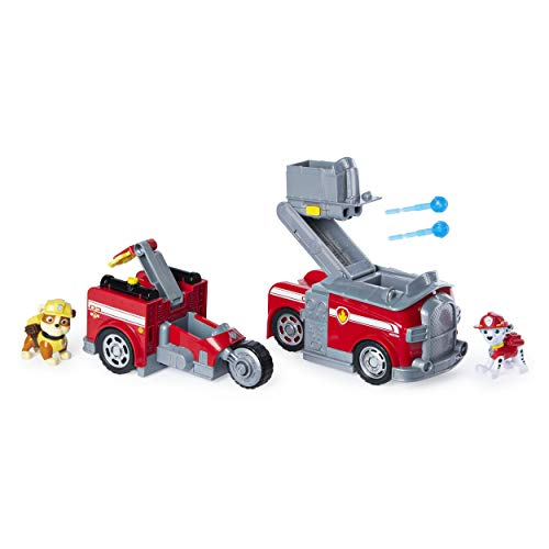PAW Patrol, Marshall Split-Second 2-in-1 Transforming Fire Truck Vehicle with 2...