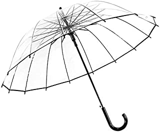 ThreeH Automatic Open Transparent Stick Umbrella 16 Steel Ribs Bubble Oversized Windproof Dome KS10,Black
