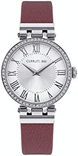 Cerruti 1881 Elettra Analogue Silver Dial Purple Leather Watch For Women - CRM26508