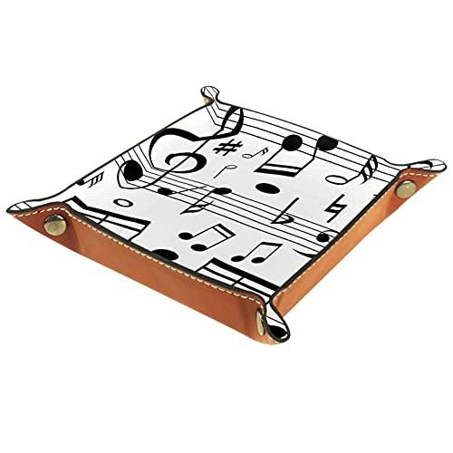 Yitian Bandeja de cuero PU joyería de cuero Catchall notas musicales en línea básculas para cambio joyería clave teléfono relojes dados elegancia suave cuero reciclable