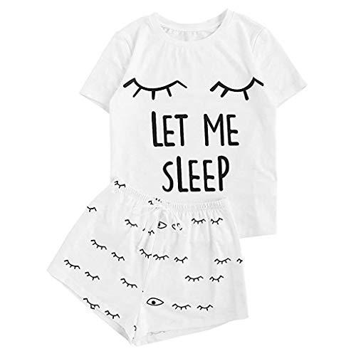Schlafanzug Damen Sommer, Teenager Mädchen Süß Avocado Katze Kuh Pyjama Beste Freunde Lippen Augen Let Me Sleep Zweiteiliger T-Shirts Kurz Hose Plus Size Nachtwäsche Hausanzug Sleepwear (01,S)