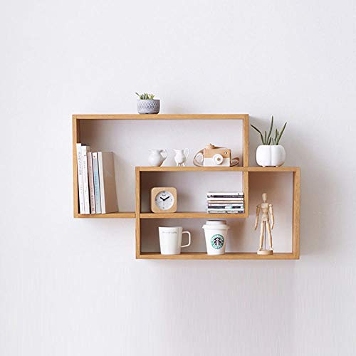 QSAA drijvende planken muur wandplanken muur gemonteerde wandplanken Set drijvende plank massief hout boekenplank rek muur dubbele ring rek wijn rack eiken cd rack opslag rek muur beugel beugel