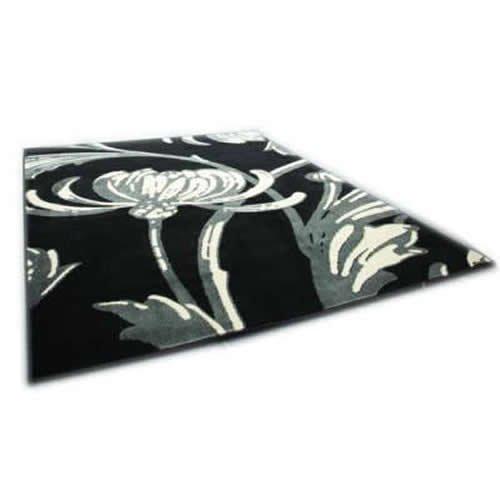 Loretta - Alfombra (120 x 160 cm), diseño floral, color negro y gris