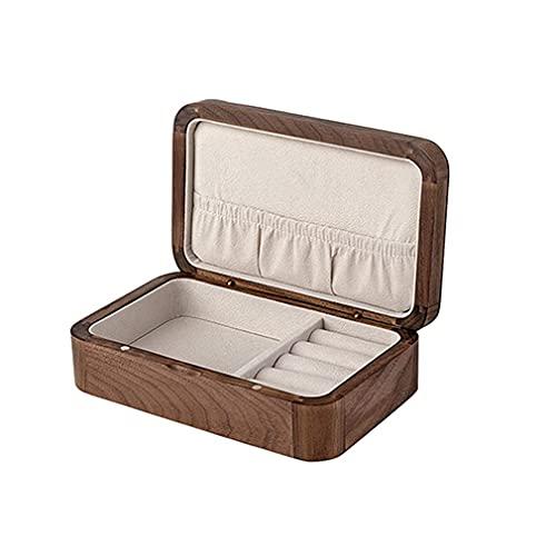 QIXIAOCYB Organizador de la caja de joyería de madera para las niñas, el organizador Reloj del escritorio de la caja de almacenamiento del escritorio del imán anti-oxidación de la pantalla de viaje de
