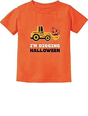 Pumpkin Face Tractor I'm Digging Halloween Cute Toddler Kids T-Shirt 3T Orange