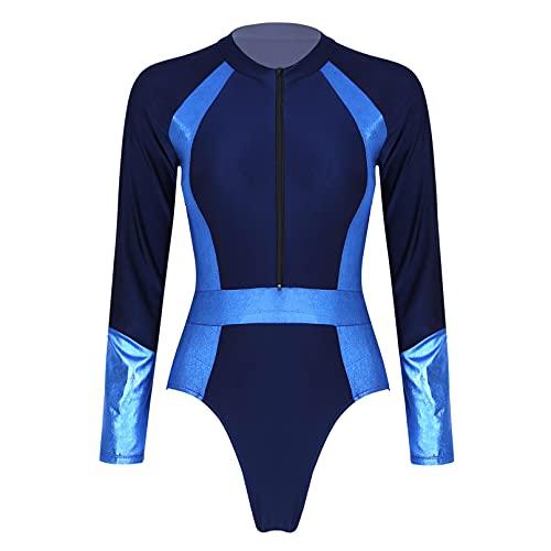 Moily Women Floral Long Sleeve Zipper Rashguard Shirts UPF 50+ Sun Protective Beach Sports Swimsuit Navy Blue XX-Large
