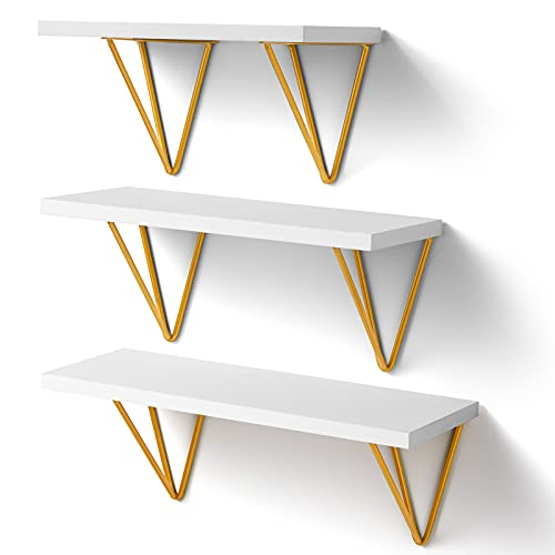 Amada White Floating Shelves - Wall Mounted Shelf with Triangle Golden Metal Brackets for Living Room, Bedroom, Kitchen Set of 3, AMFS12