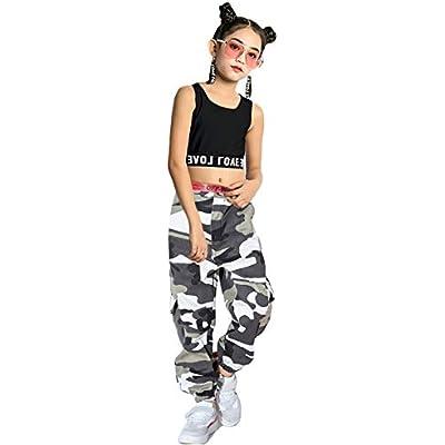 LOLANTA 2pcs Girls Hip Hop Street Dance Solo Clothes Set Crop Tank Top+Camouflage Jogger Pants