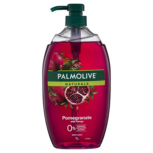 Palmolive Naturals Body Wash 1L, Pomegranate with Mango, Soap Free Shower Gel, No Parabens Phthalates or Alcohol, Recyclable Bottle, (Pack of 1)
