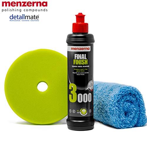 """detailmate Menzerna Auto Politur Set: 3000er Körnung, 250 ml mit passendem Polier Pad: Soft Cut Foam 150 mm / 6.0\"""" + Flauschiges Mikrofaser Poliertuch 40x40 cm, 450 GSM"""
