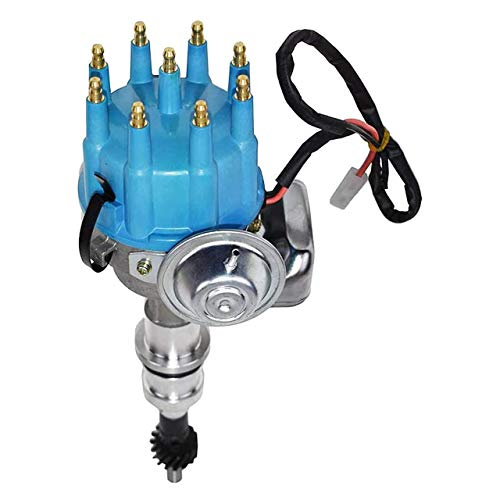 A-Team Performance R2R Ready To Run Complete Distributor Compatible with Ford Windsor V8 221, 260, 289, 302 Small Block SBF 289 302 Two-Wire Installation Blue Cap