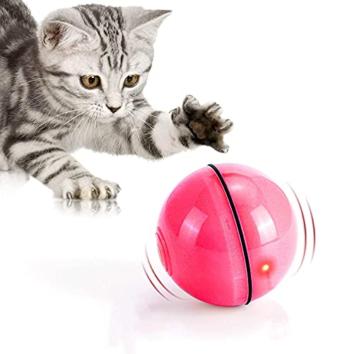 jaosn Bola de juguete para gatos con luces LED y hierba gatera, juguete de campanilla y plumas para mascotas, rotación automática de 360 grados, color rojo