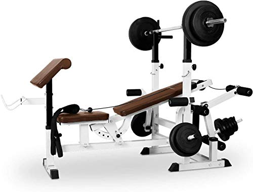 Klarfit Workout Hero 3000 - Panca Multifunzione, Stazione Fitness, Estensioni Gambe e Braccia, Bicipiti, Cross Training, Schienale Regolabile, Panca Bilancere, Home Gym, Bianco