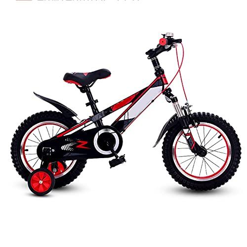 JIAYING Bicicletas lnfantiles Bicicletas Para Niños Sport Kids Bike Bike Bicycle Girls And Boys Children Bike Unisex Kids Bike, Con Ruedas De Entrenamiento Y Asiento Cómodo, F(Size:14 inch,Color:rojo)