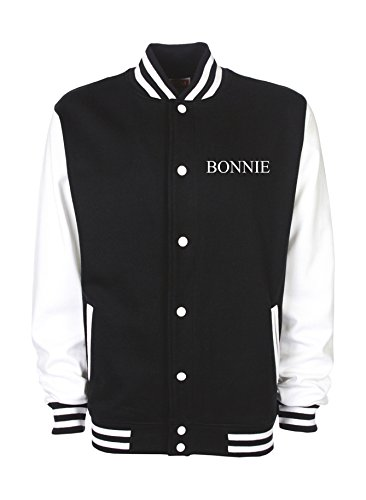 Ann Susan College Jacke vorne Bestickt mit Bonnie und hinten Bedruckt mit Bonnie Unisex, oder individuell gestaltbar