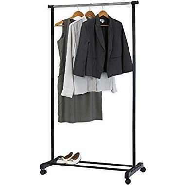 Simple Houseware Portable Closet Hanging Clothing Garment Rack with Wheels
