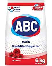 ABC White and Color Automatic Laundry Powder Detergent 12KG, Rose Passion Scent, with Multi Enzyme Technology, Pack of 2 (2 X 6KG)