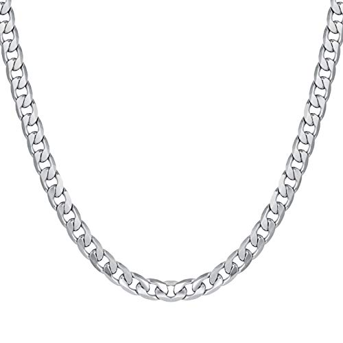 6MM Cuban Chains Stainless Steel Curb Chain Necklace for Men Women 22 Inches