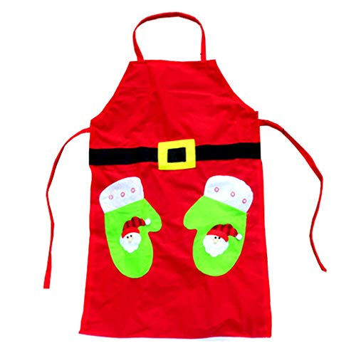 Fine Christmas Apron, Santa Claus Style Adult Kitchen Apron for Christmas Party Chef, Cotton Kitchen Aprons Dinner Party Apron (Green)
