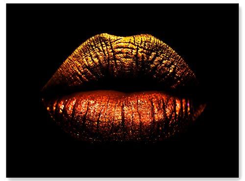 wandmotiv24 Leinwand-Bild Frauen Lippen, Größe 80x60cm, Querformat, Wandbilder, Dekoration Wohnung modern, Lippenstift, Kosmetik, Frau, Glanz, Schminke, Schwarz, Rot, Gold, Gesicht, Deko M0087