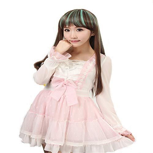 Perruque Longue Tout Droit Cheveux Longue Cheveux Lumière Marron Vanille Vert pour Dames Costume Cosplayfête D'Halloween Cheveux Perruque Postiches