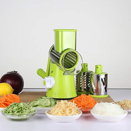 Cortador de verduras giratorio de tres hojas para cortar queso, cortador manual de tambor de cocina con cuchillas giratorias 3 en 1 de acero inoxidable, rallador de frutas, queso (verde)