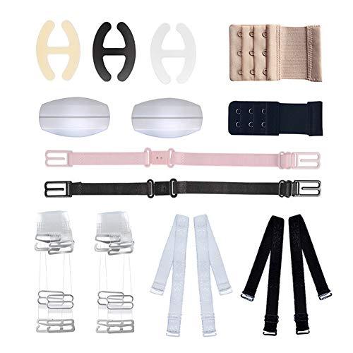 SwirlColor BH-Strap-Halter, BH-Zubehör-Set von 12 für Frau Mädchen mit verstellbaren BH unsichtbare Straps BH-Clips und Extender Schulterpolster Multi Style Set