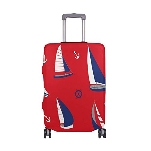 Nautical Anchor Boat Sailing Pattern Luggage Cover Baggage Suitcase Travel Protector Fit for 18-32 Inch