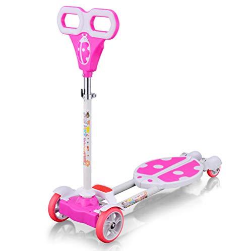 WYFDM Niños 3 Ruedas Speeder Plegable Scooter Tri Slider con Alas Push Motion, Diseño Plegable Manija Ajustable,Pink