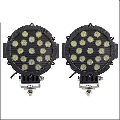 Ampoule LED 7 pouces 51W ronde LED travail lumière 4x4 Spot faisceau d'inondation for tracteur de camion tout-terrain ATV SUV conduite lampe 2 pcs (Edition : Flood beam)