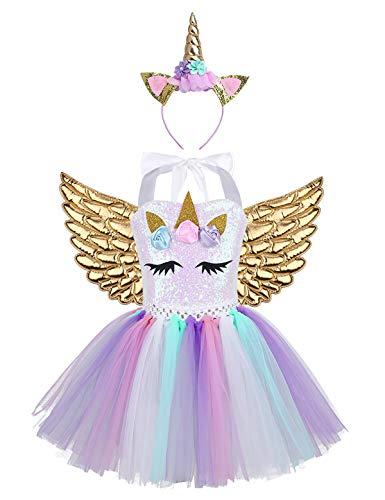 TiaoBug Disfraz de Unicornio con Diadema Alas Niñas Tutú Vestido Princesa Lentejuelas de Fiesta Ceremonia Vestido Unicornio Niña para Halloween Carnaval Colorful&Gold 4-5 Años