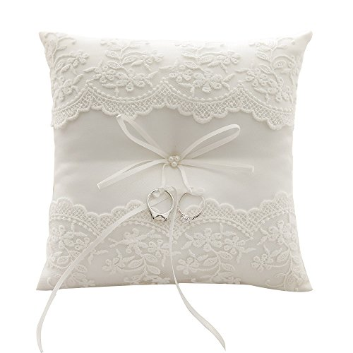 Awtlife Lace Pearl Wedding Ring Pillow Cushion Bearer 8.26 Inch For Beach wedding