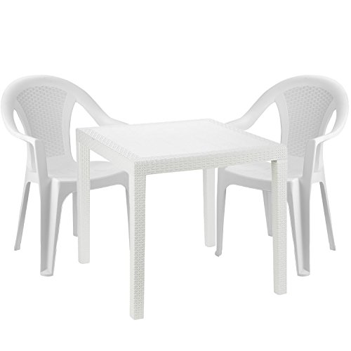 Mojawo® Gartengarnitur - 3-teilig - Gartentisch Kunststoff 79x79cm H72cm - + 2 Stapelstühle - Kunststoff Weiß- Bistro Set - Esstisch - Stapelstuhl